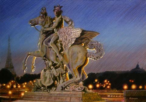 marly's horse concorde paris, painting, pastels
